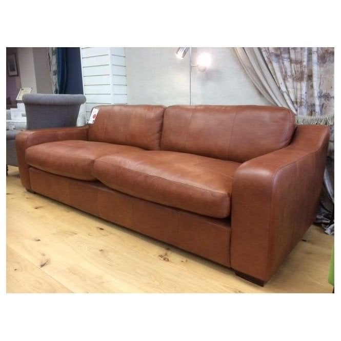 Clearance Arlo & Jacob large leather Pembroke sofa by Home of the Sofa