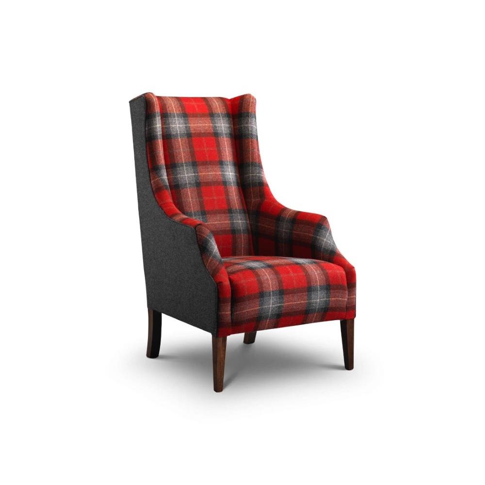 Balthasar modern wing chair in Moon wool plaid fabric
