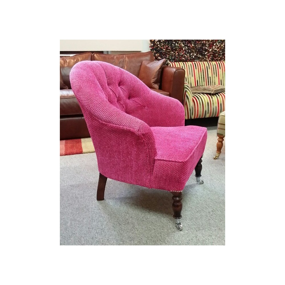 Pink Bedroom Chair Bath Small Buttoned Occasional Bedroom Chair In Pink Fabric