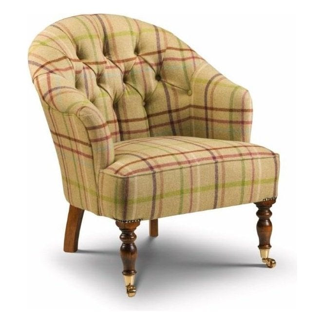 Bishopton buttoned occasional bedroom chair in Moon wool ...