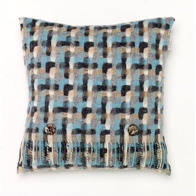 Bronte By Moon Geometric Aqua Cushion
