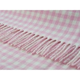 Bronte By Moon Gingham Baby Pink Throw