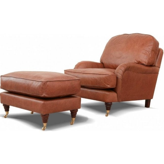 Burnham Leather Footstool (Excludes chair)