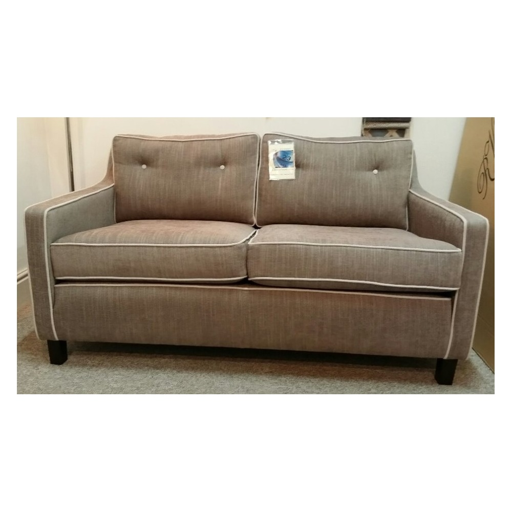 Davy small contemporary 2 seater sofa in j brown senna fabric Small 2 seater sofa